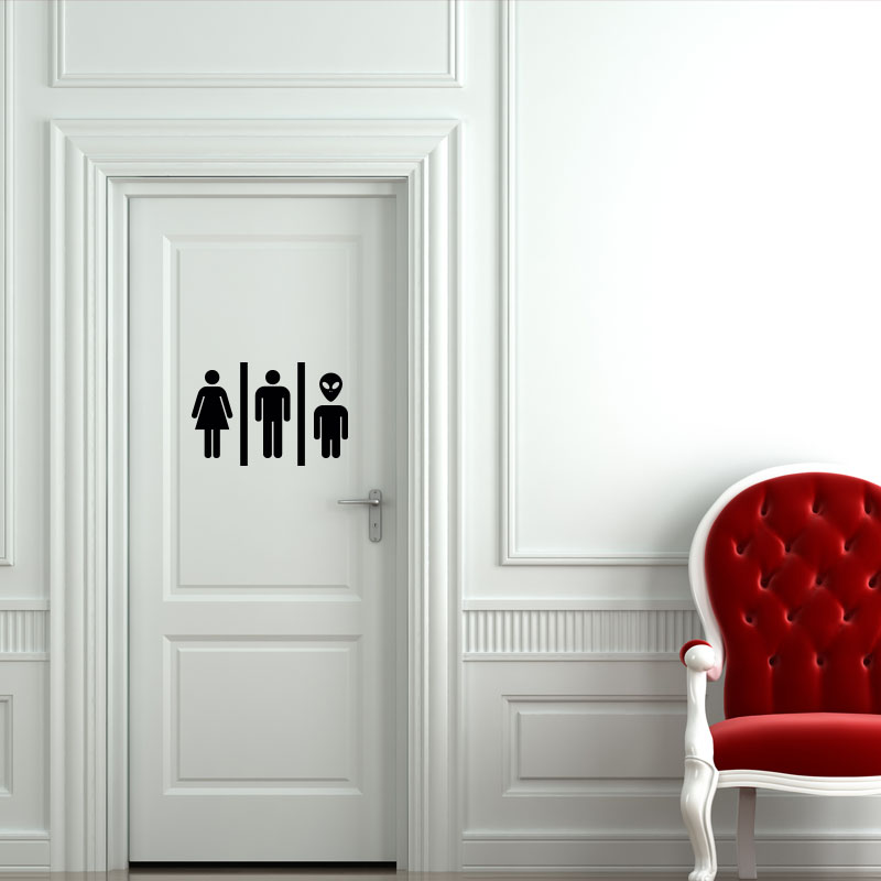 Sticker porte femme homme et extraterrestre stickers for Stickers pour porte toilettes