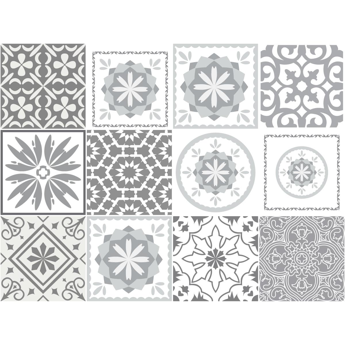 12 stickers carreaux de ciment nuances de gris cordoba. Black Bedroom Furniture Sets. Home Design Ideas