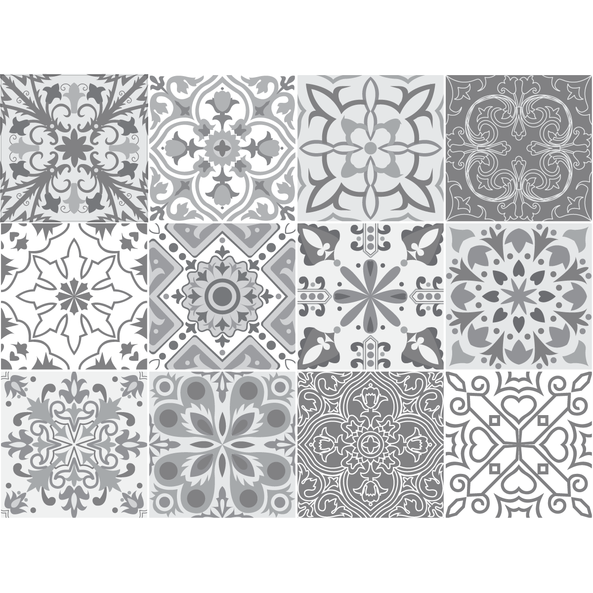 12 stickers carreaux de ciment nuances de gris torino for Carrelage salle de bain gris rose