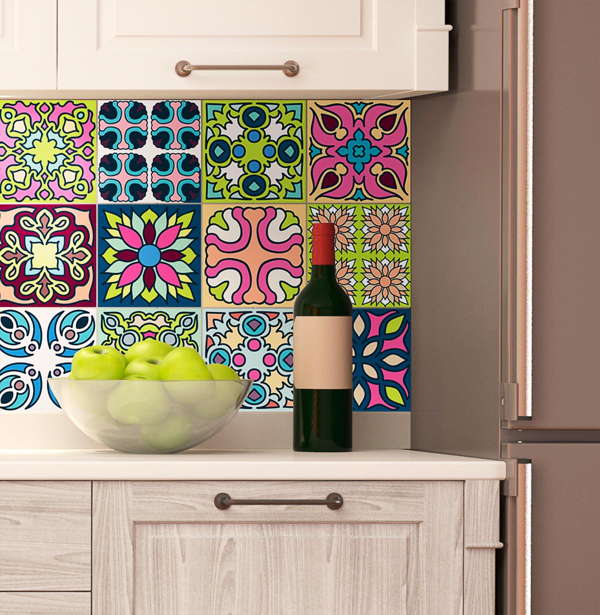 12 stickers carreaux de ciment tahiti cuisine carrelages - Stickers cuisine carrelage ...