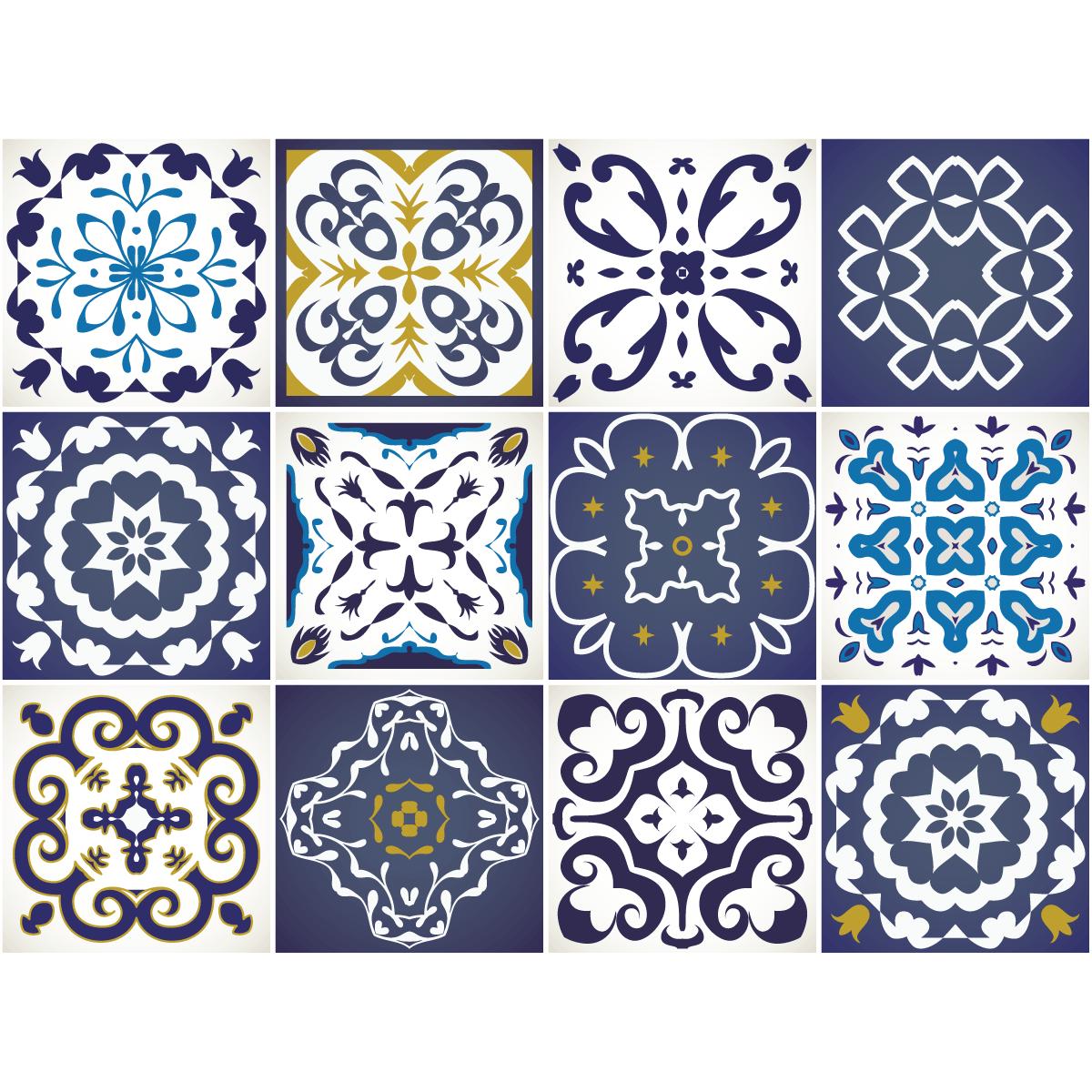 12 stickers carrelages azulejos janeiro cuisine carrelages ambiance sticker. Black Bedroom Furniture Sets. Home Design Ideas