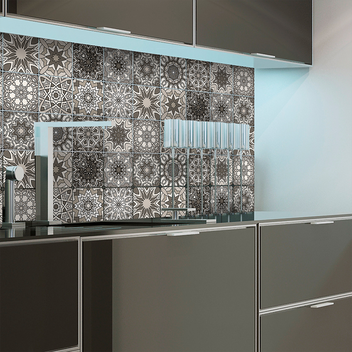 12 stickers carrelages azulejos nuances de gris reykjavik. Black Bedroom Furniture Sets. Home Design Ideas