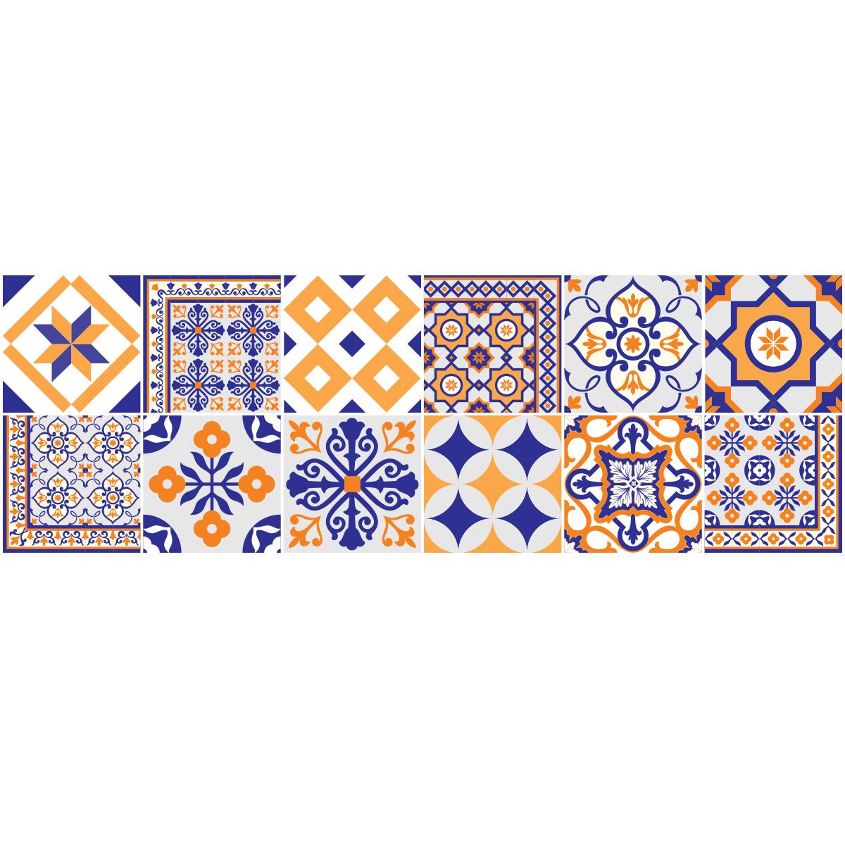 12 stickers carrelages vintage bleus et orange stickers. Black Bedroom Furniture Sets. Home Design Ideas