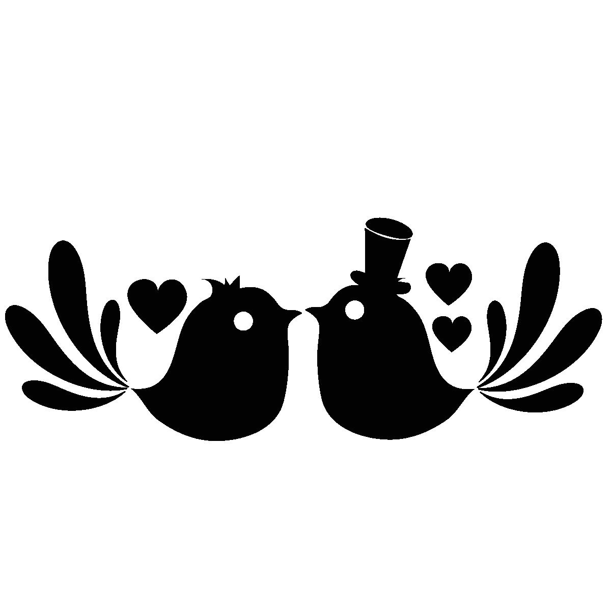Sticker dessin oiseaux amoureux stickers f tes stickers for Accessoire salle de bain transparent