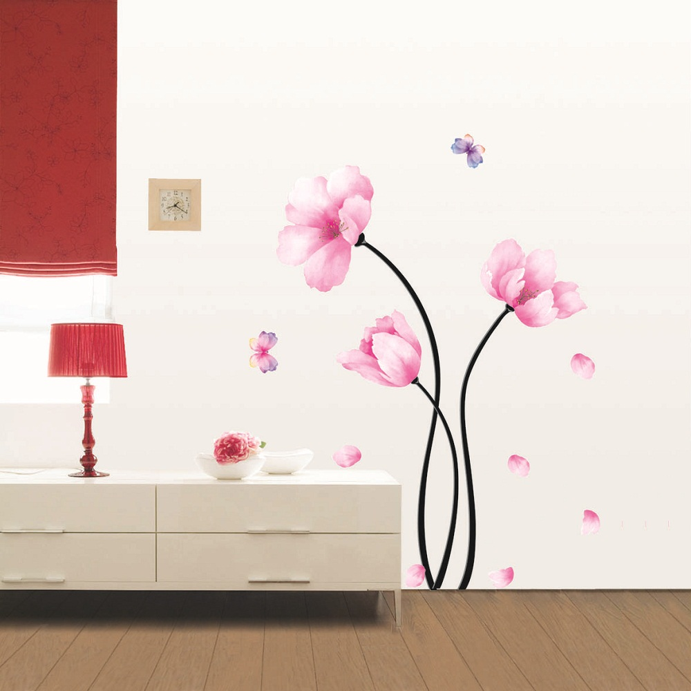 fleurs roses et papillons stickers muraux nature. Black Bedroom Furniture Sets. Home Design Ideas