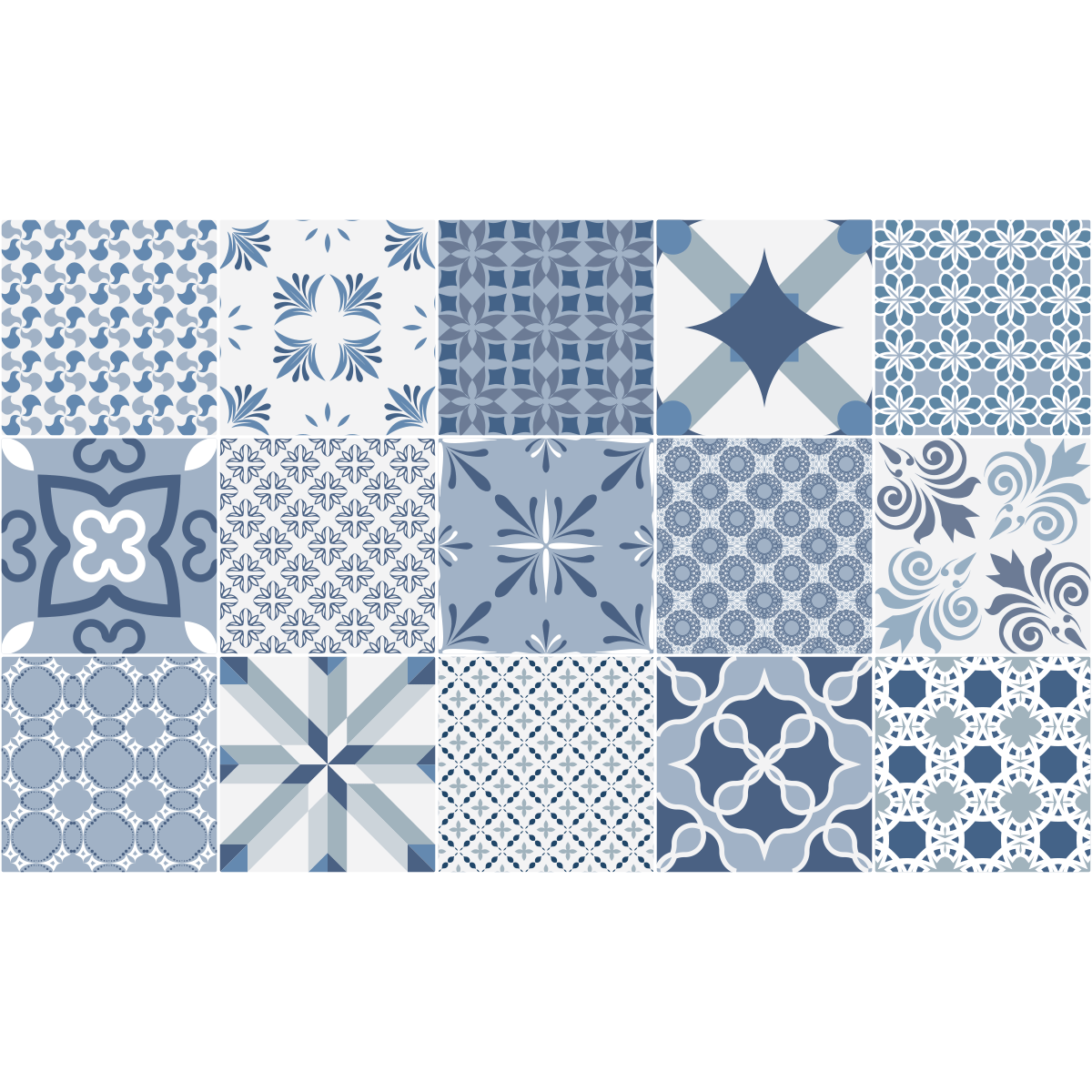 15 stickers carreaux de ciment bleu anvers art et design - Stickers carreaux de ciment ...