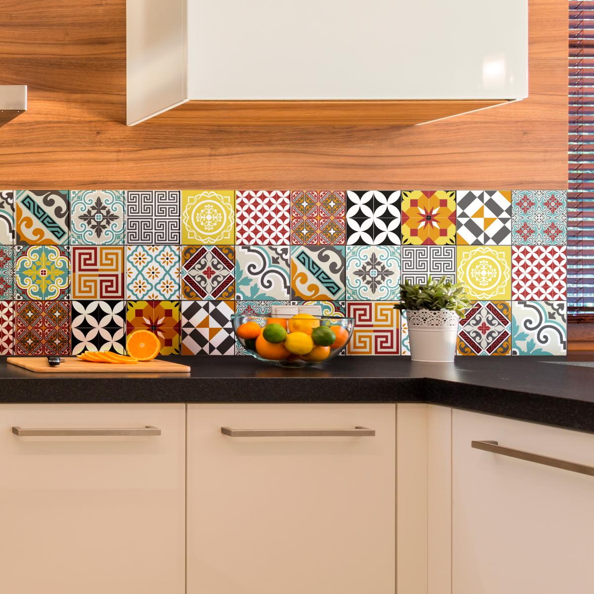 15 stickers carrelages azulejos mosa que multicolore art et design artistiques ambiance sticker. Black Bedroom Furniture Sets. Home Design Ideas
