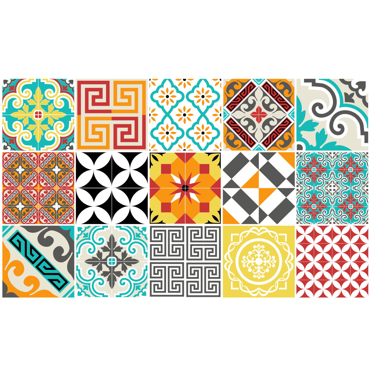 15 stickers carrelages azulejos mosa que multicolore art for Stickers carreaux de ciment cuisine