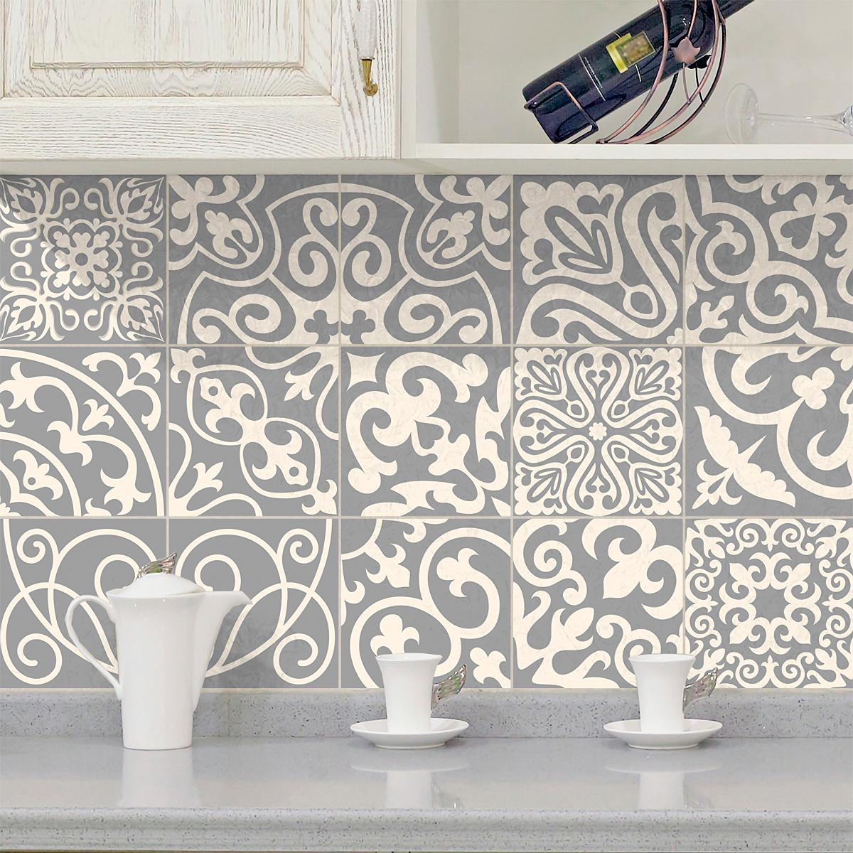 15 stickers carrelages azulejos nuances de gris palaos cuisine carrelages ambiance sticker. Black Bedroom Furniture Sets. Home Design Ideas