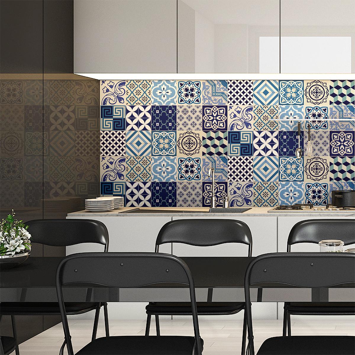 15 stickers carrelages azulejos vintage bleu d 39 azure art et design artistiques ambiance sticker. Black Bedroom Furniture Sets. Home Design Ideas