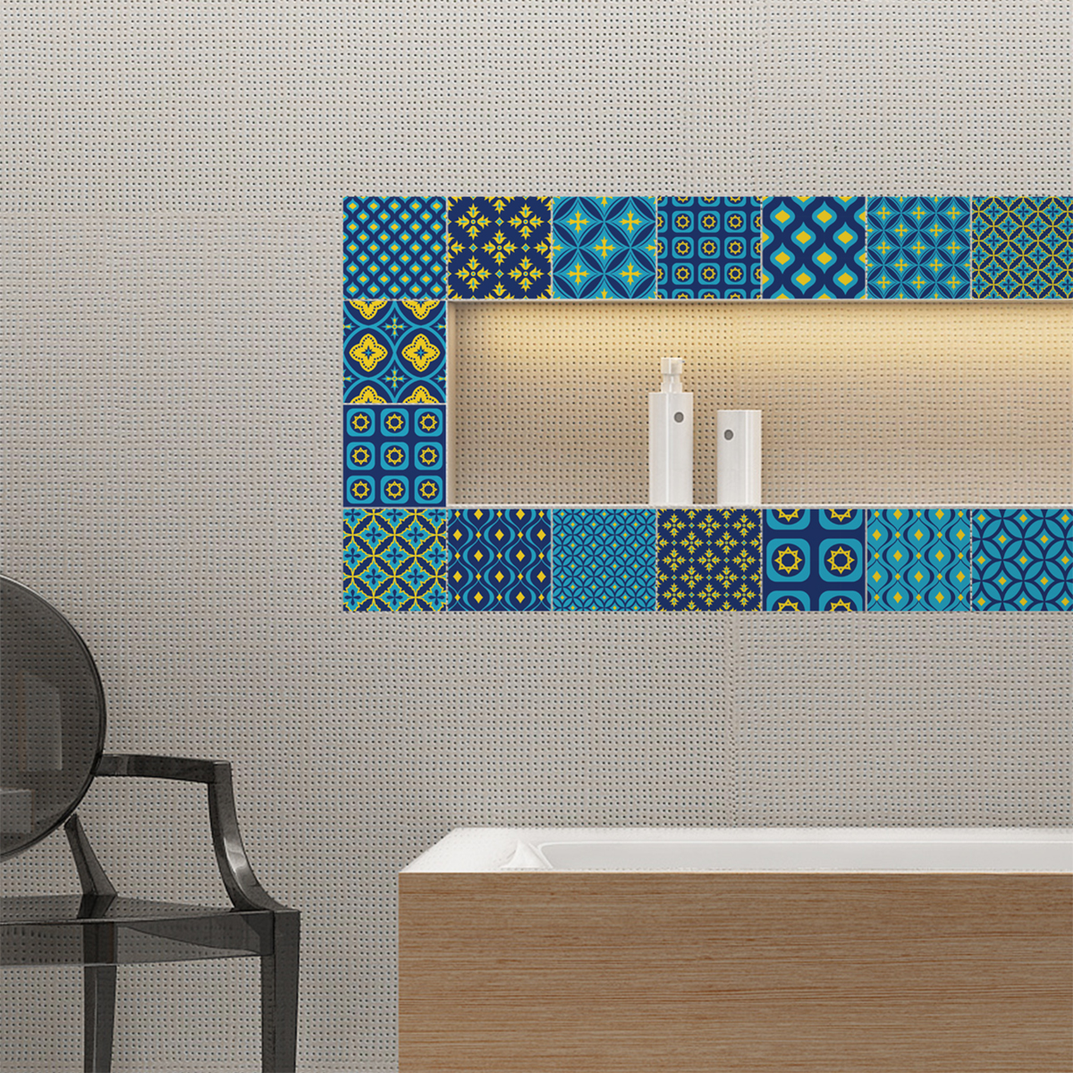 16 stickers carreaux de ciment scandinave mika salle de bain et wc salle de bain ambiance. Black Bedroom Furniture Sets. Home Design Ideas