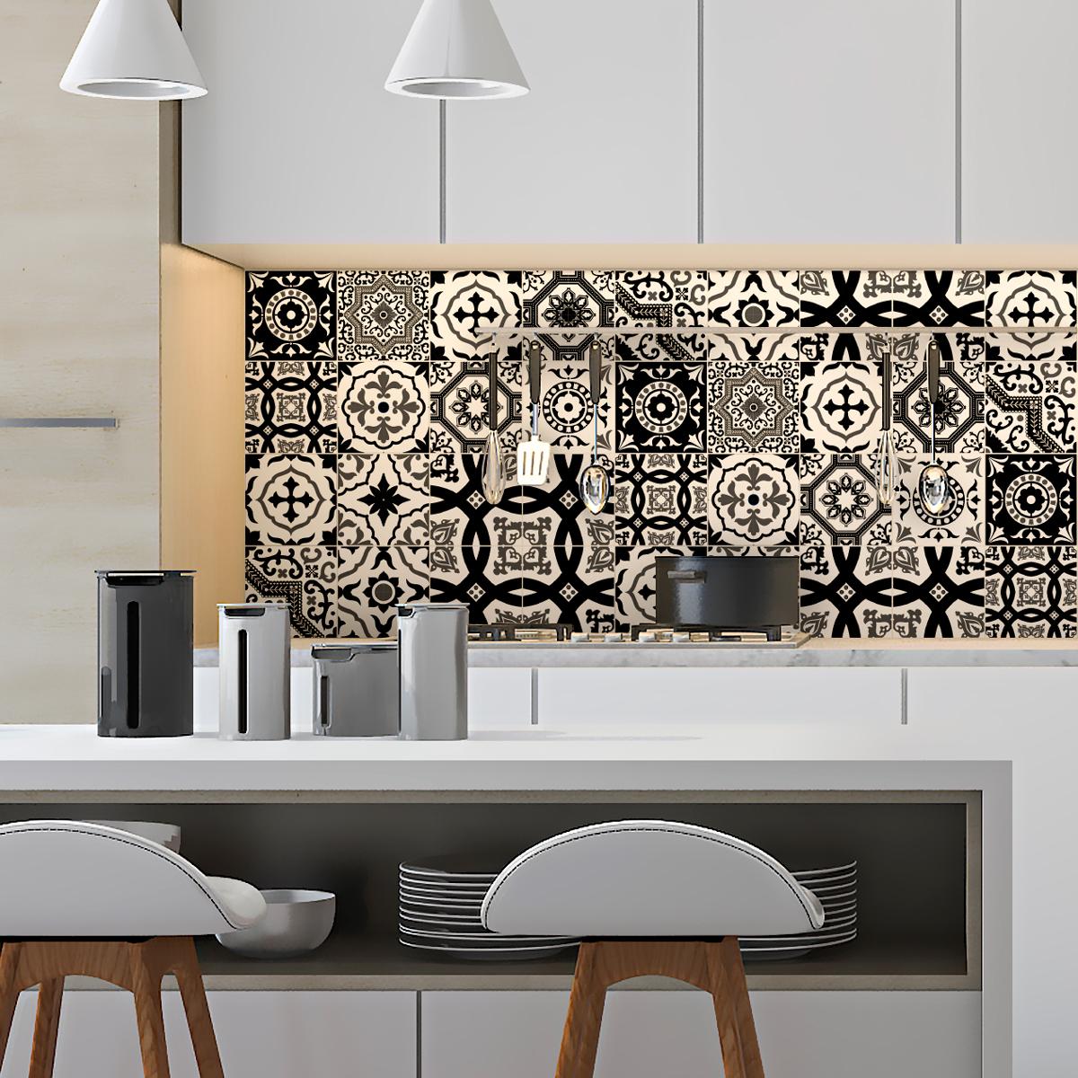 16 stickers carrelages azulejos modernes nuance noir et. Black Bedroom Furniture Sets. Home Design Ideas
