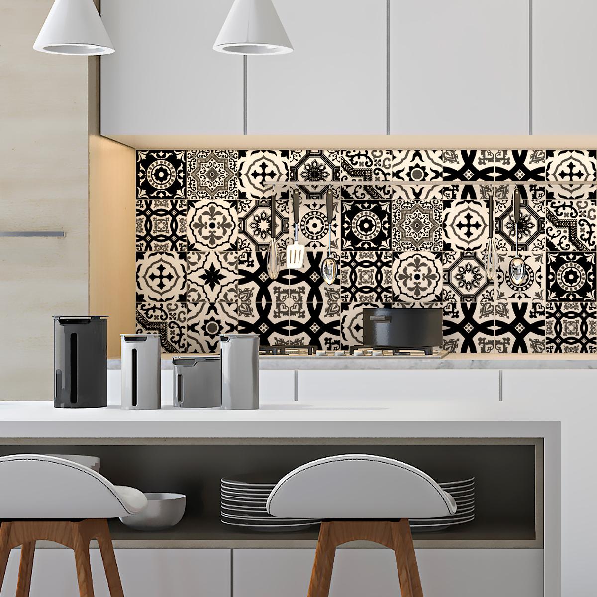 16 stickers carrelages azulejos modernes nuance noir et blanc art et design artistiques. Black Bedroom Furniture Sets. Home Design Ideas