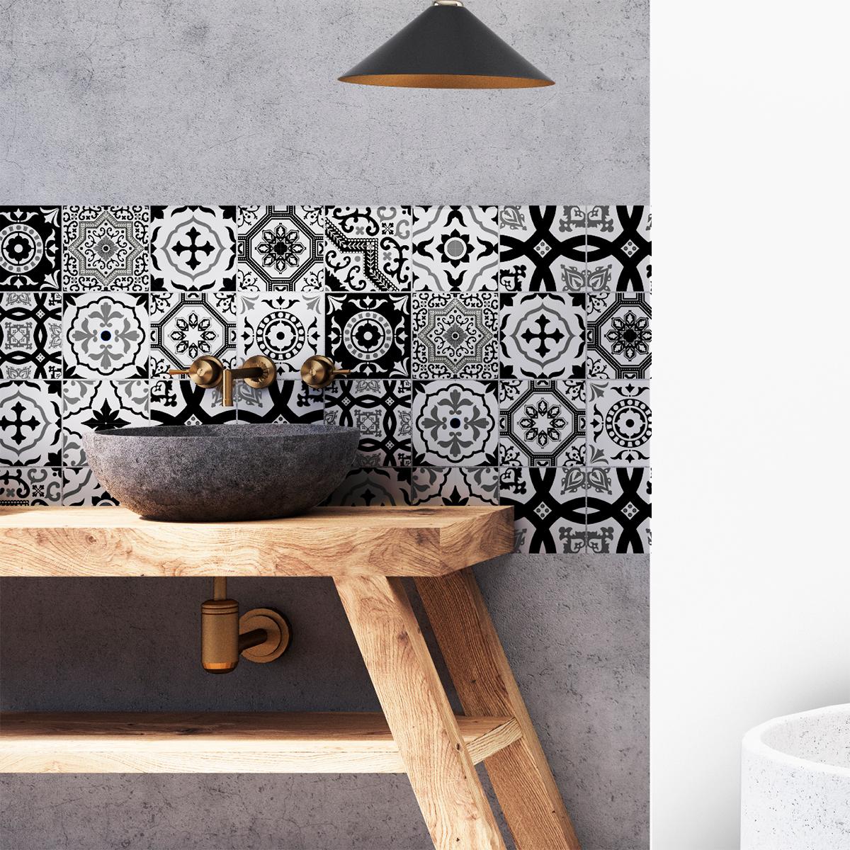 16 stickers carrelages azulejos modernes nuance noir et blanc art et design - Nuance et decoration ...