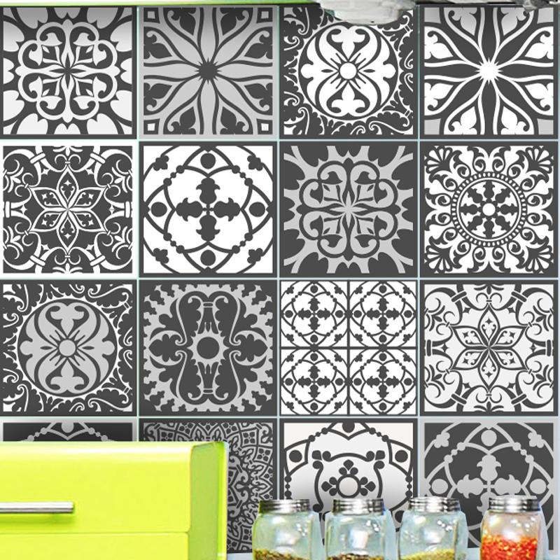 16 stickers carrelages azulejos originaux nuance gris art et design artistiques ambiance sticker. Black Bedroom Furniture Sets. Home Design Ideas