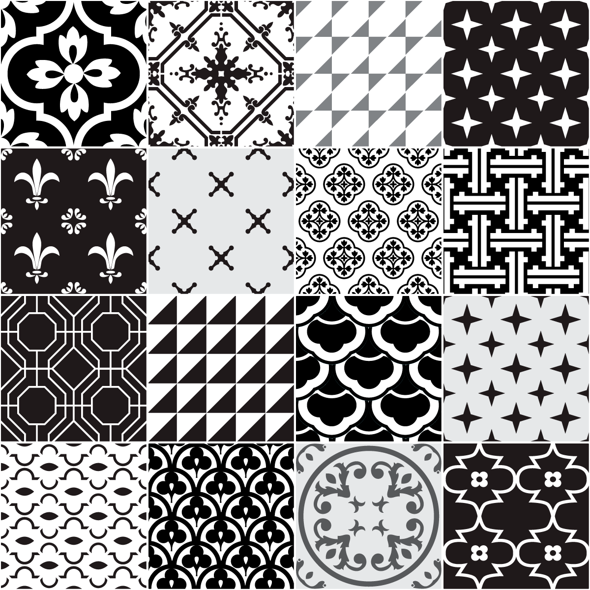 16 stickers carrelages azulejos ornements anciens nuance