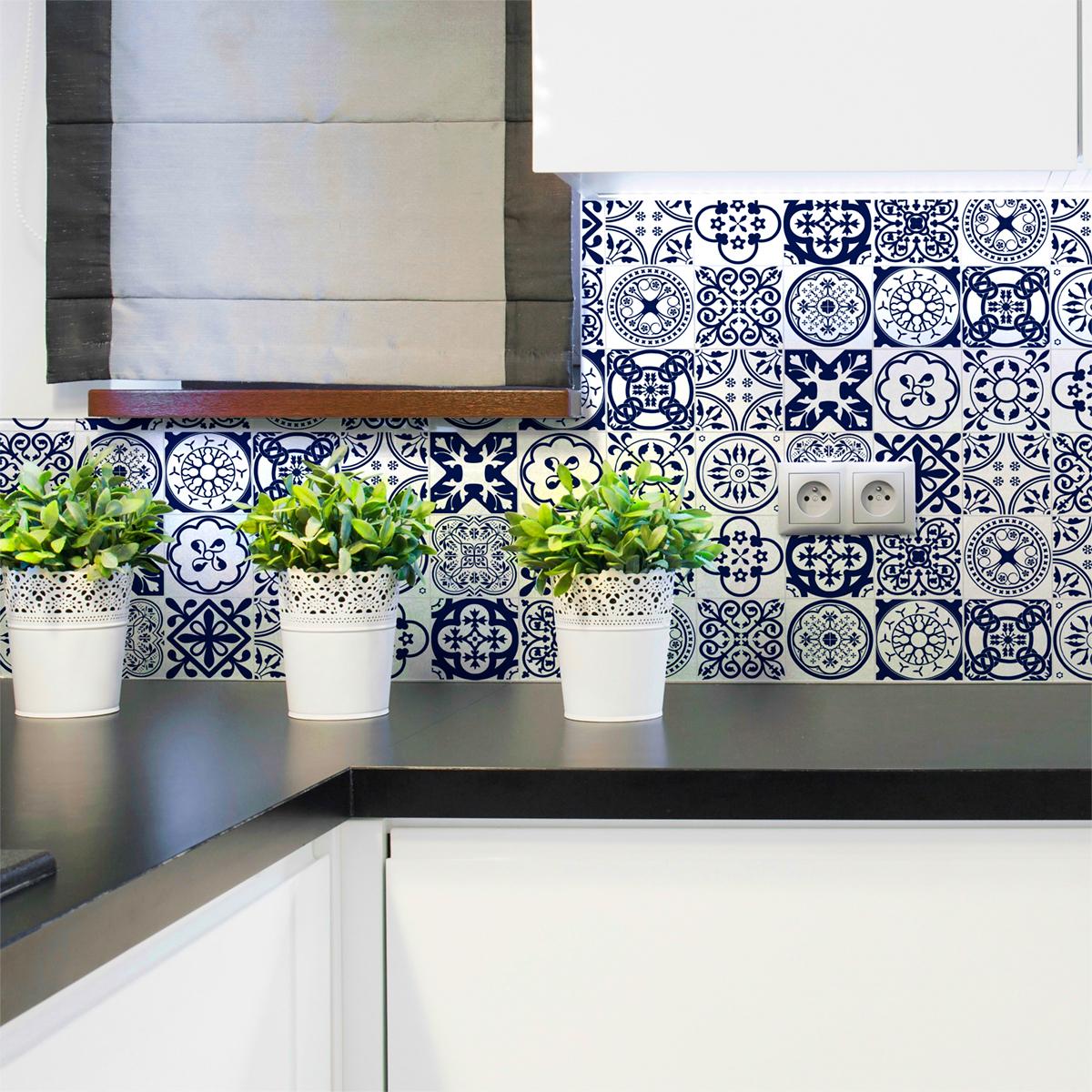 16 stickers carrelages azulejos ornements florales bleu. Black Bedroom Furniture Sets. Home Design Ideas