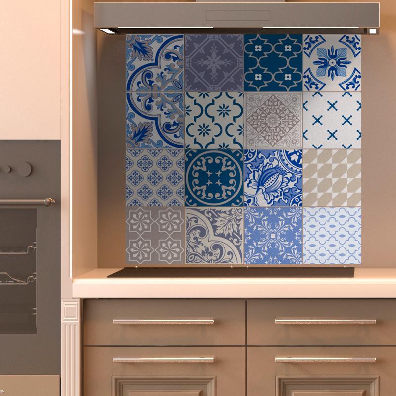 16 stickers carrelages azulejos ornements traditionnels. Black Bedroom Furniture Sets. Home Design Ideas