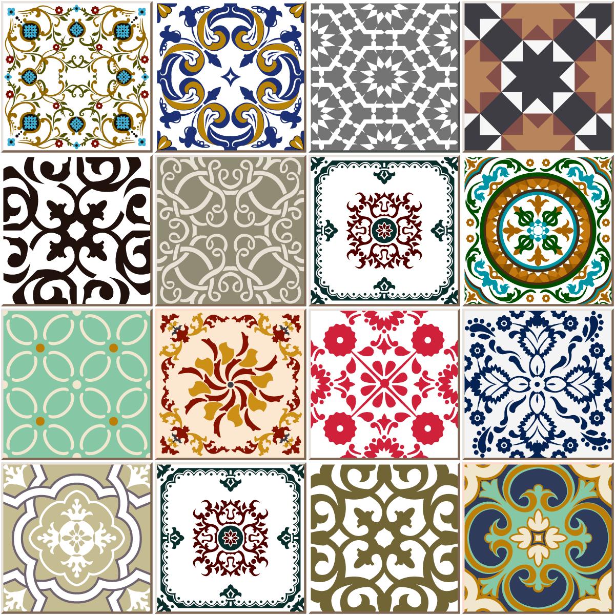 Stickers Carrelages Azulejos Style Design Coloré Art Et Design - Carrelage i colori