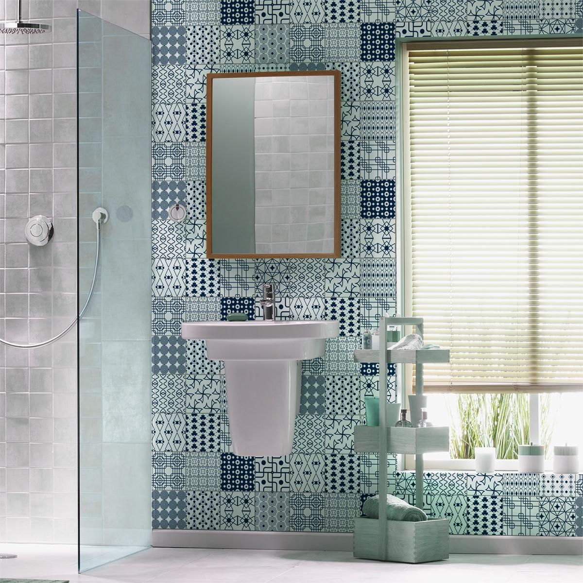 16 stickers carrelages scandinave hadar salle de bain et for Carrelage salle de bain scandinave