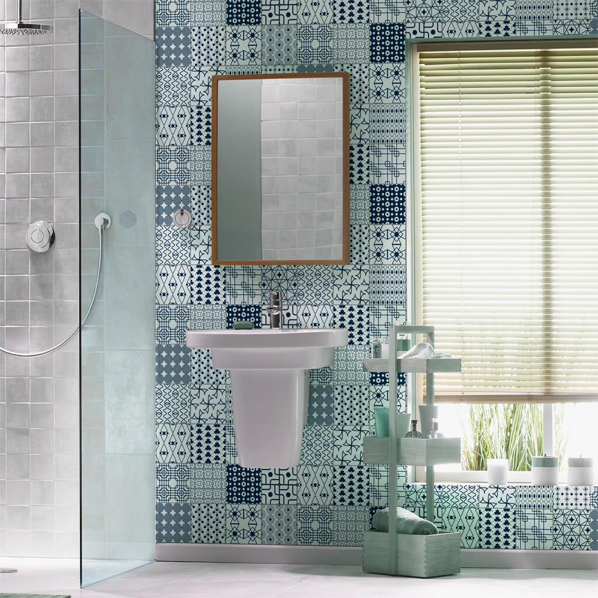 16 stickers carrelages scandinave hadar salle de bain et wc salle de bain ambiance sticker. Black Bedroom Furniture Sets. Home Design Ideas