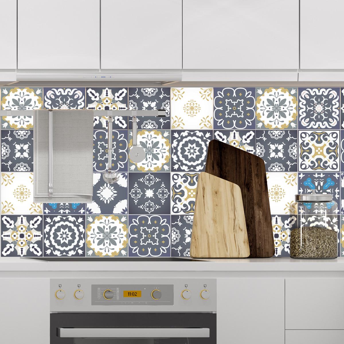 24 stickers carreaux de ciment ankara salle de bain et - Wc carreaux de ciment ...