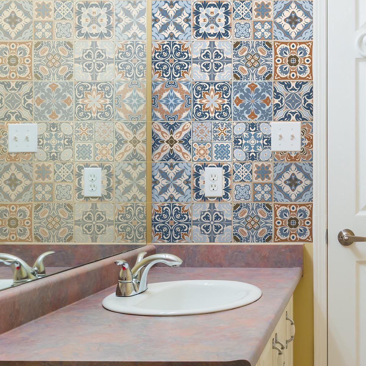 24 stickers carreaux de ciment azulejos albano cuisine - Carreaux de ciment stickers ...