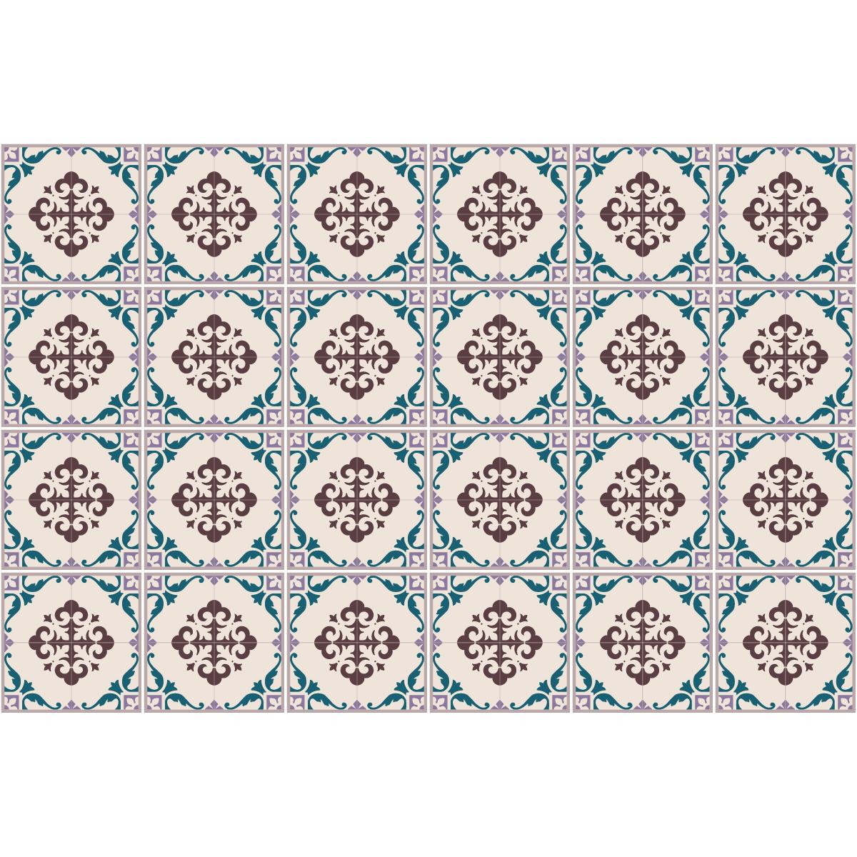 24 stickers carreaux de ciment azulejos antioco cuisine. Black Bedroom Furniture Sets. Home Design Ideas