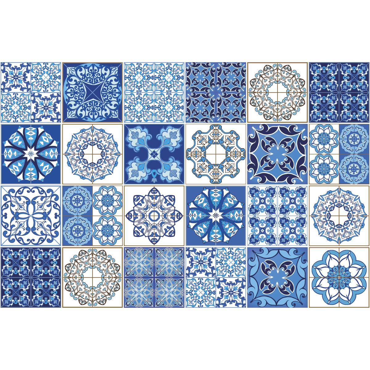 24 stickers carreaux de ciment azulejos azzurra salle de bain mur salle de bain ambiance sticker. Black Bedroom Furniture Sets. Home Design Ideas
