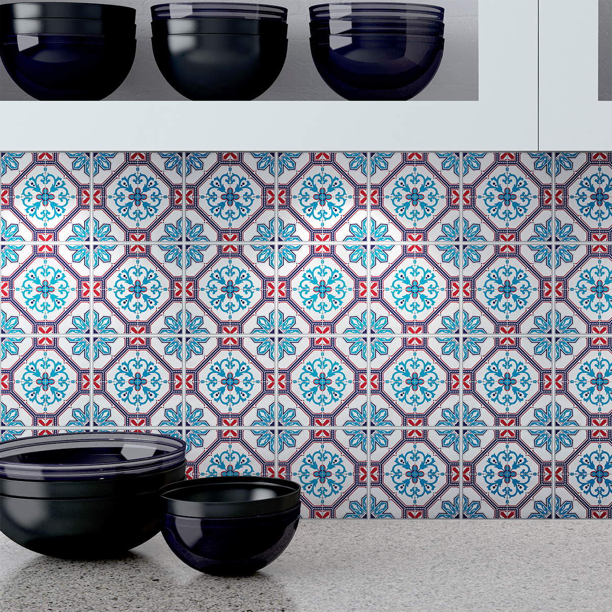 24 stickers carreaux de ciment azulejos calantha cuisine for Stickers carrelage cuisine 15x15
