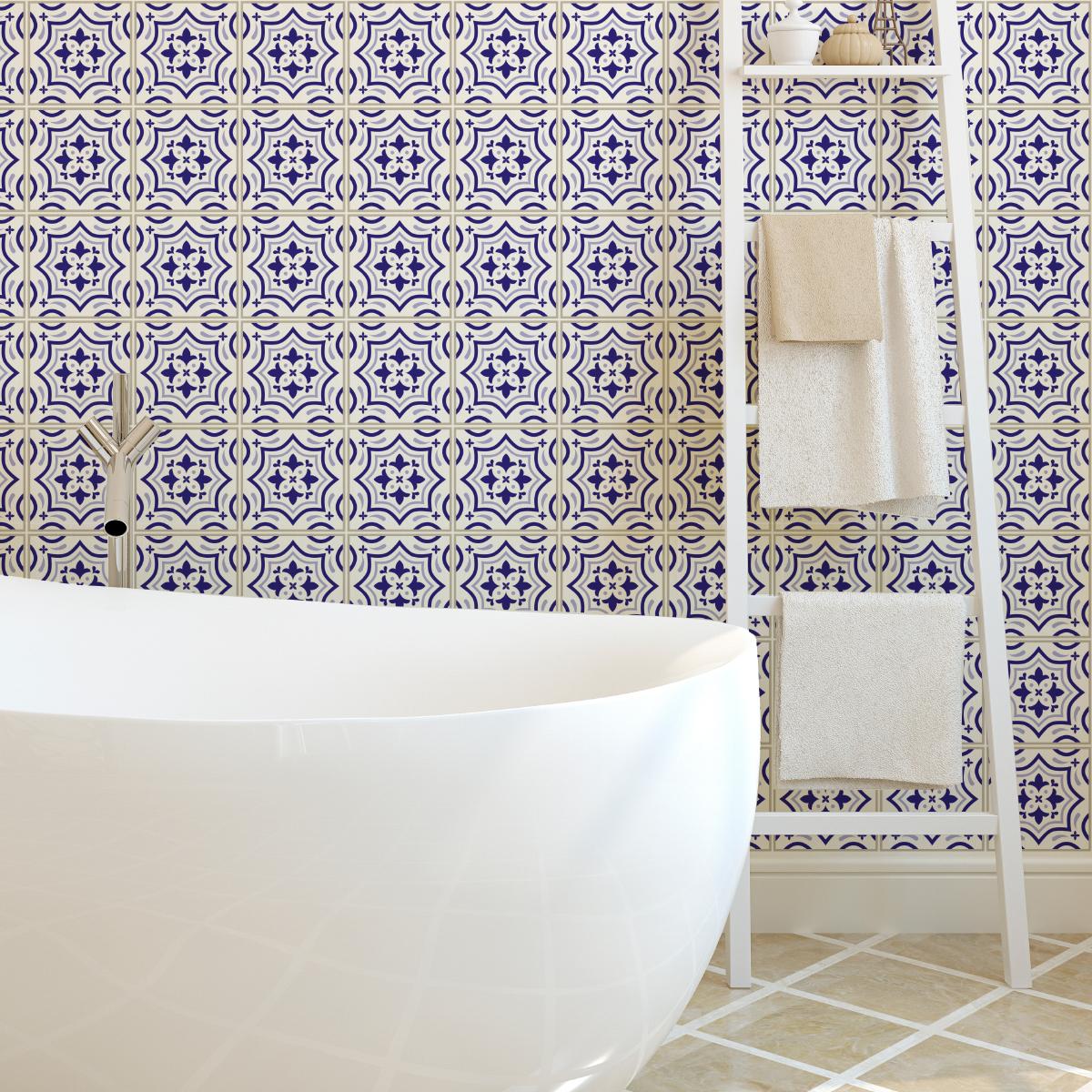 24 stickers carreaux de ciment azulejos carmen salle de bain et wc salle de bain ambiance. Black Bedroom Furniture Sets. Home Design Ideas