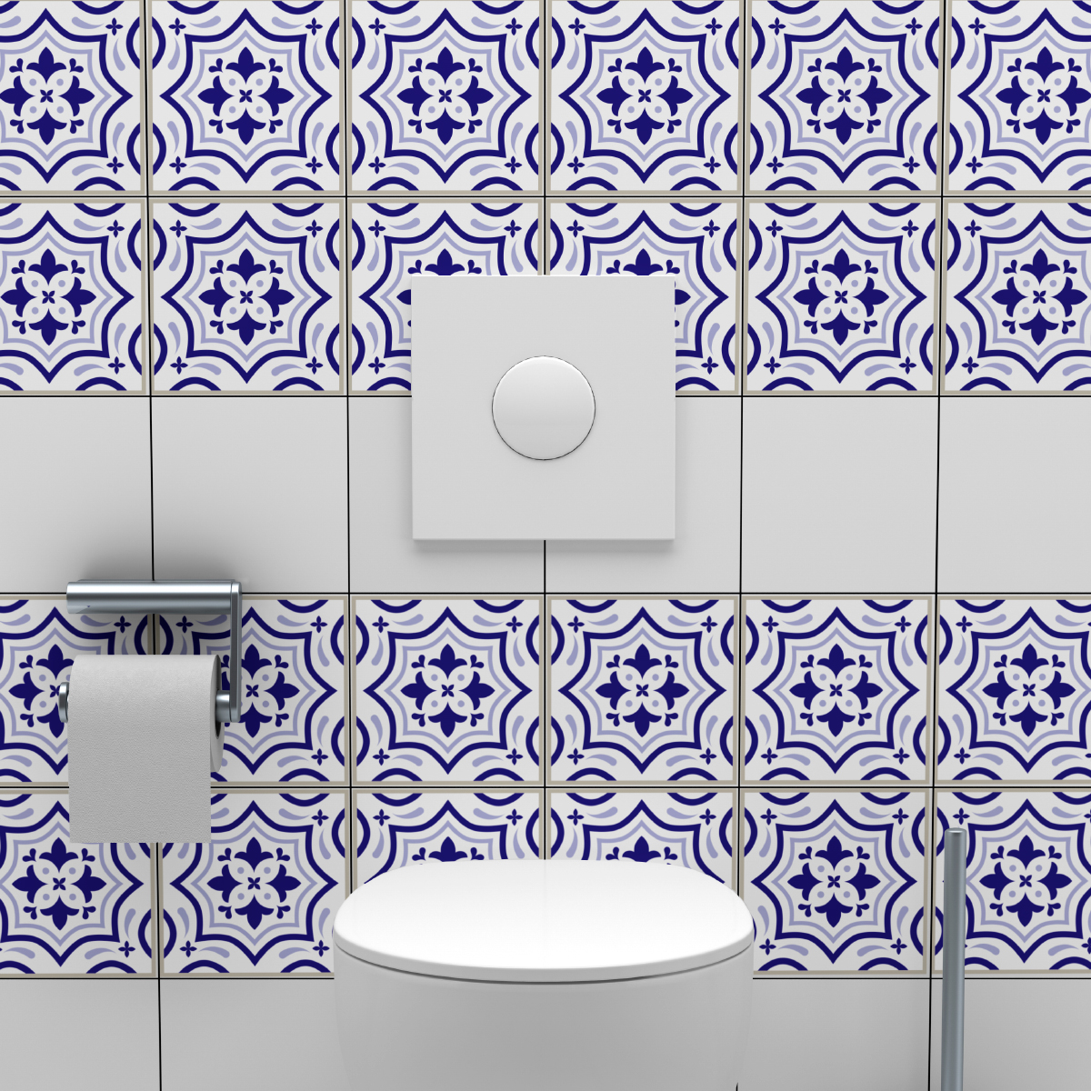24 stickers carreaux de ciment azulejos carmen salle de for Stickers carreaux salle de bain