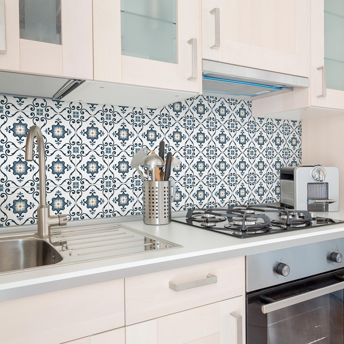 24 stickers carreaux de ciment azulejos c lina cuisine. Black Bedroom Furniture Sets. Home Design Ideas