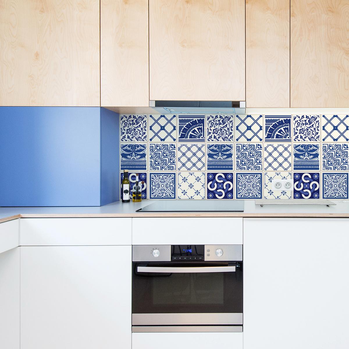 24 stickers carreaux de ciment azulejos dionisio cuisine carrelages ambiance sticker. Black Bedroom Furniture Sets. Home Design Ideas