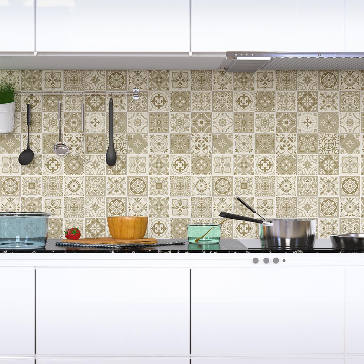 24 stickers carreaux de ciment azulejos domenico cuisine. Black Bedroom Furniture Sets. Home Design Ideas