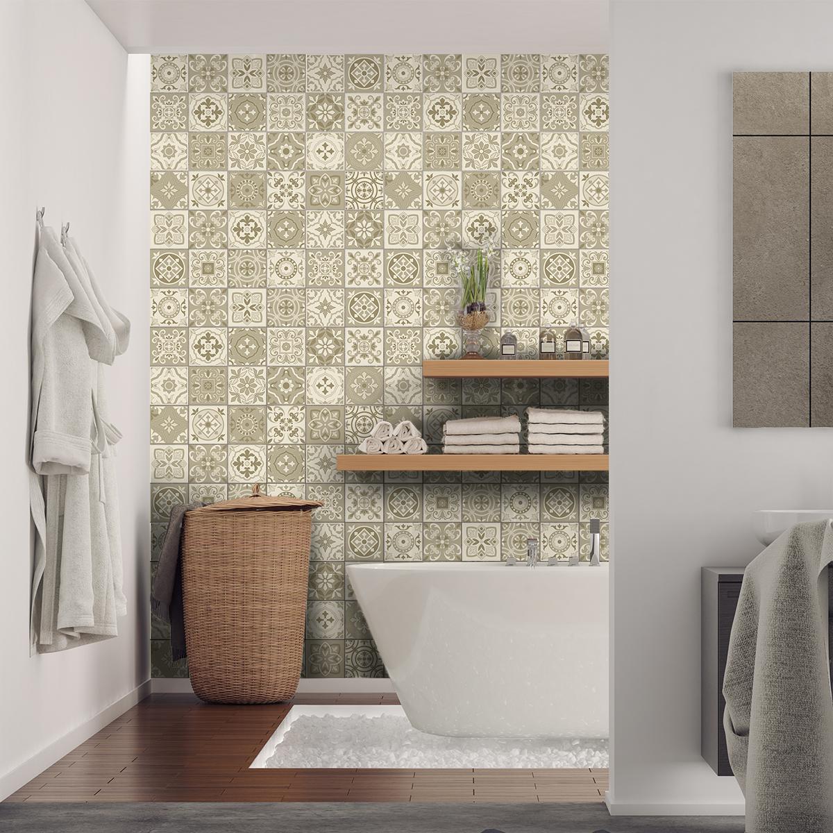 24 stickers carreaux de ciment azulejos domenico cuisine carrelages ambiance sticker. Black Bedroom Furniture Sets. Home Design Ideas