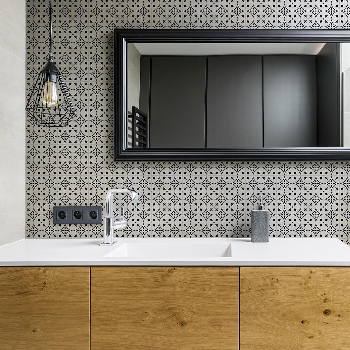 24 stickers carreaux de ciment azulejos ela cuisine - Stickers carreaux de ciment ...