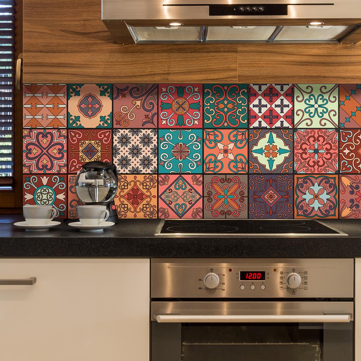 24 stickers carreaux de ciment azulejos giordano cuisine. Black Bedroom Furniture Sets. Home Design Ideas