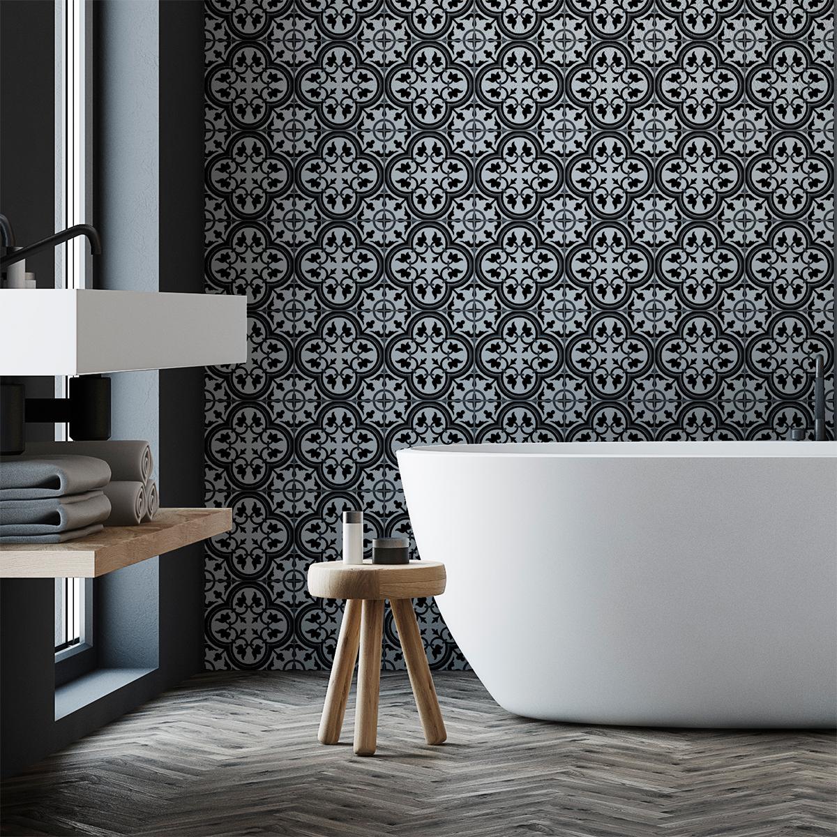 24 stickers carreaux de ciment azulejos gisela cuisine. Black Bedroom Furniture Sets. Home Design Ideas