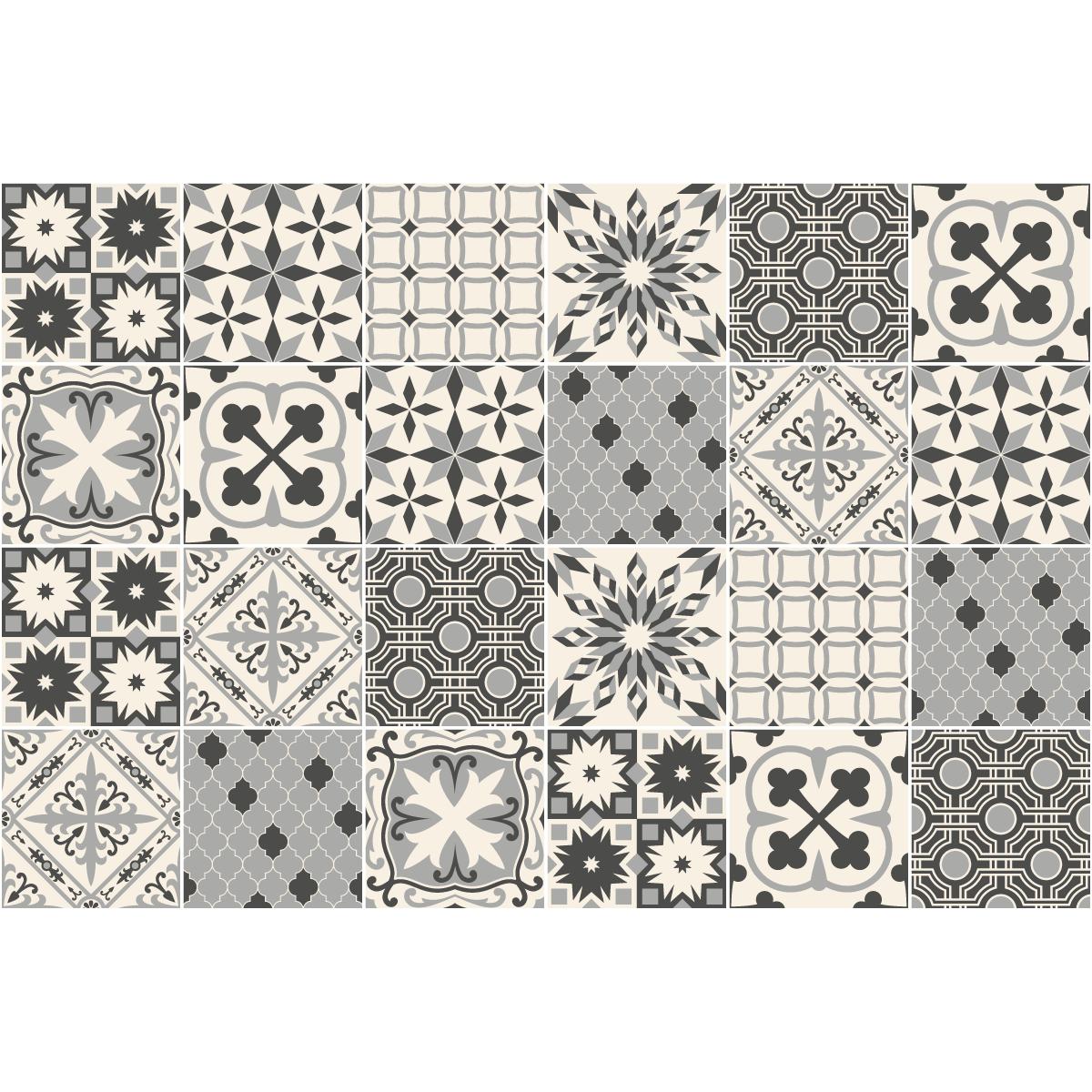 24 stickers carreaux de ciment azulejos ilona cuisine. Black Bedroom Furniture Sets. Home Design Ideas