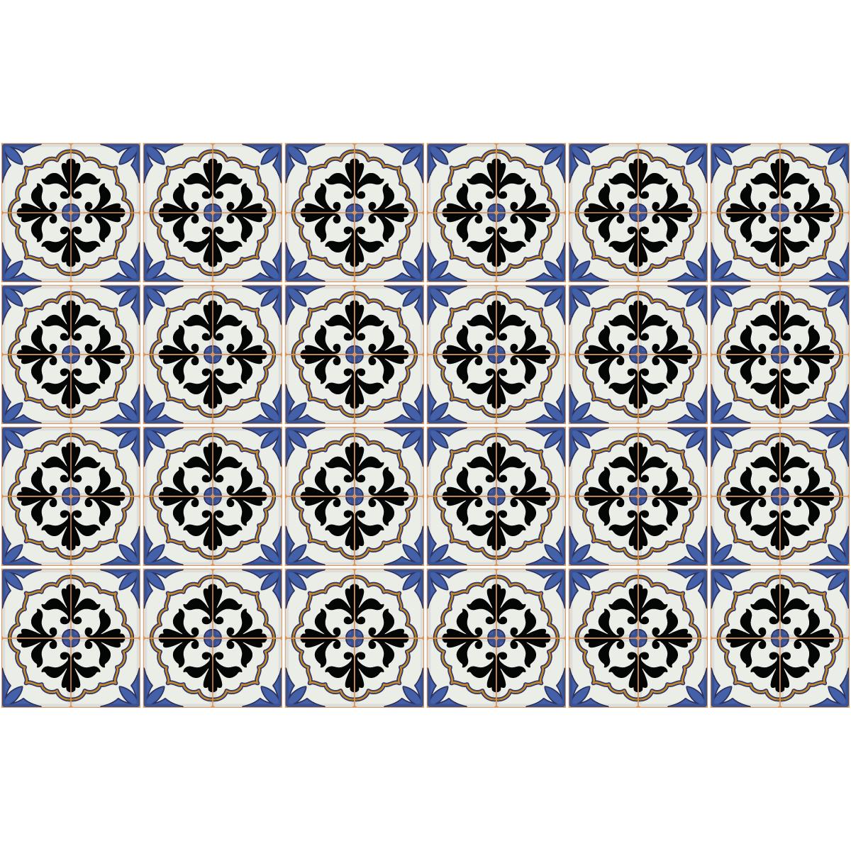 24 stickers carreaux de ciment azulejos italo salle de bain et wc salle de bain ambiance sticker. Black Bedroom Furniture Sets. Home Design Ideas