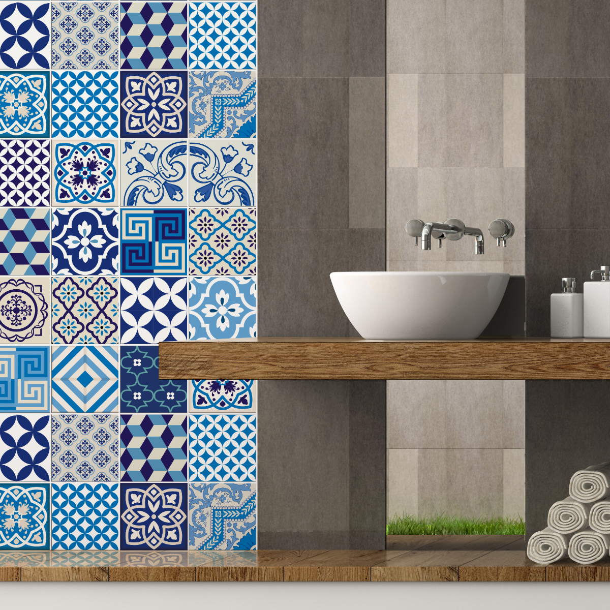 24 stickers carreaux de ciment azulejos lendro cuisine carrelages ambiance sticker. Black Bedroom Furniture Sets. Home Design Ideas