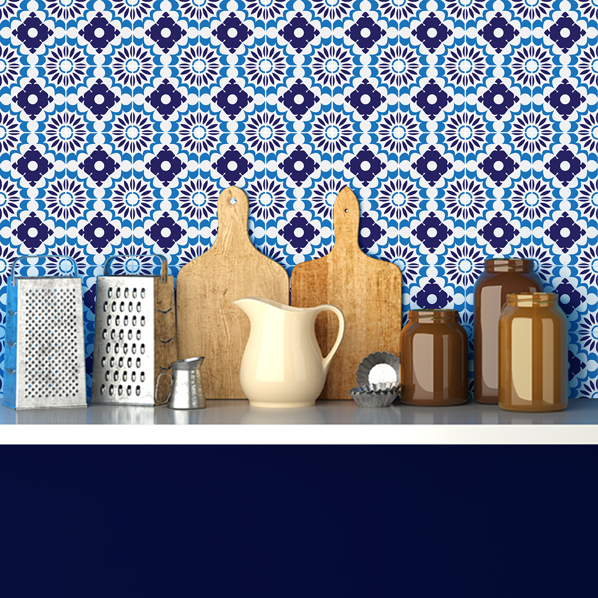 24 stickers carreaux de ciment azulejos palermo cuisine carrelages ambiance sticker. Black Bedroom Furniture Sets. Home Design Ideas