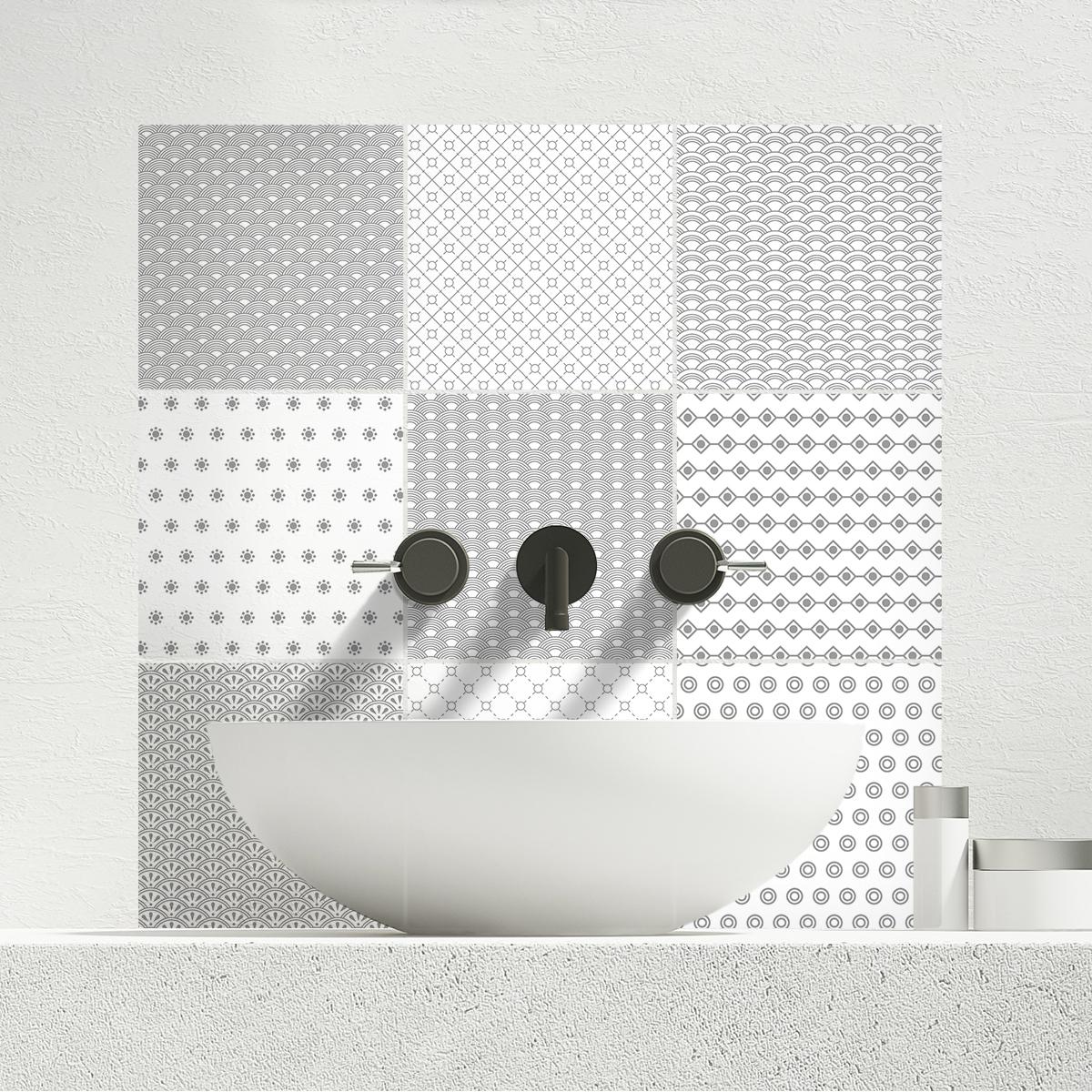24 stickers carreaux de ciment azulejos paolo cuisine. Black Bedroom Furniture Sets. Home Design Ideas