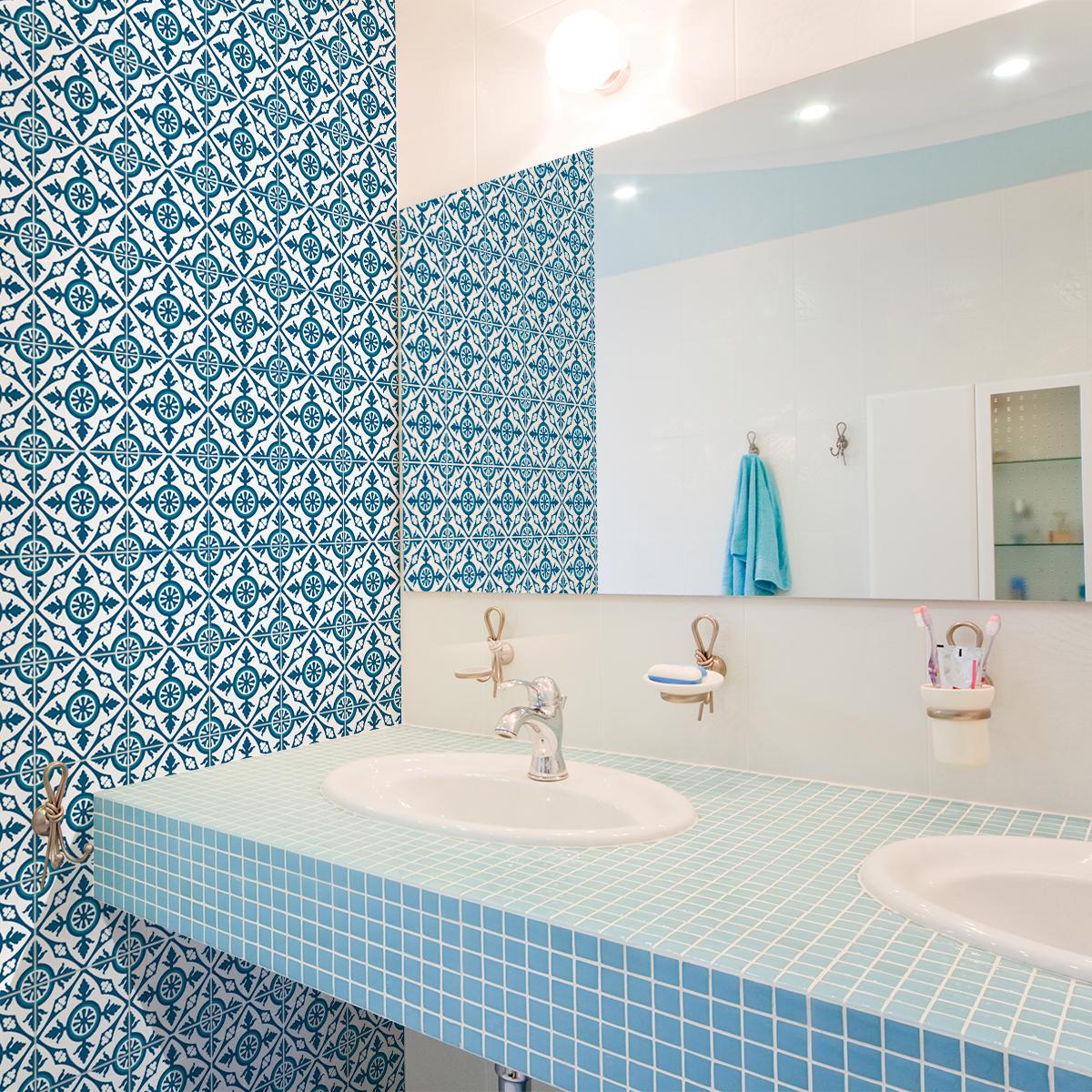 24 stickers carreaux de ciment azulejos patricia cuisine carrelages ambiance sticker. Black Bedroom Furniture Sets. Home Design Ideas