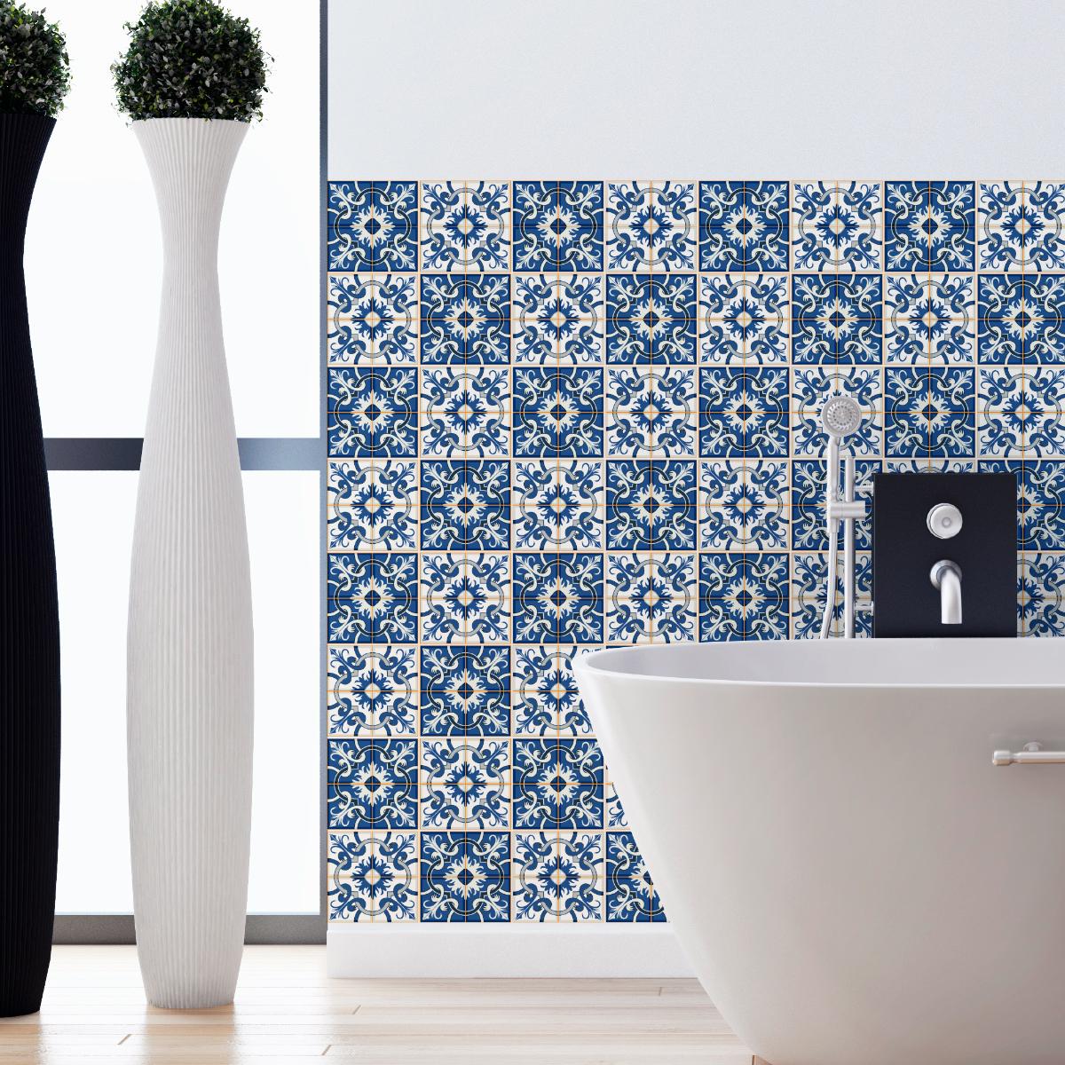 24 stickers carreaux de ciment azulejos vito salle de bain et wc salle de bain ambiance sticker. Black Bedroom Furniture Sets. Home Design Ideas