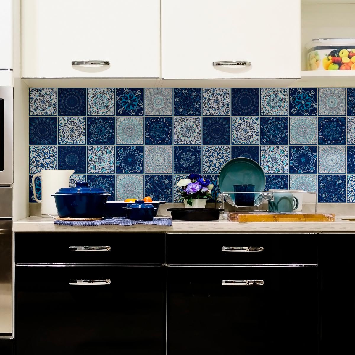 24 stickers carreaux de ciment boh me chaak cuisine carrelages ambiance sticker. Black Bedroom Furniture Sets. Home Design Ideas