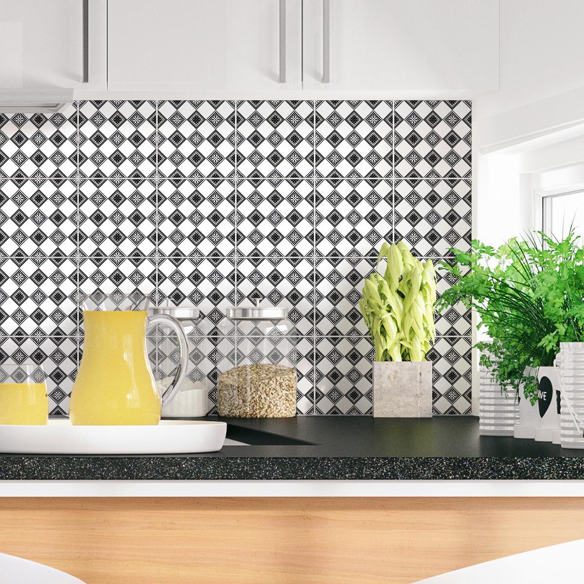 24 stickers carreaux de ciment boh me kisha cuisine carrelages ambiance sticker. Black Bedroom Furniture Sets. Home Design Ideas