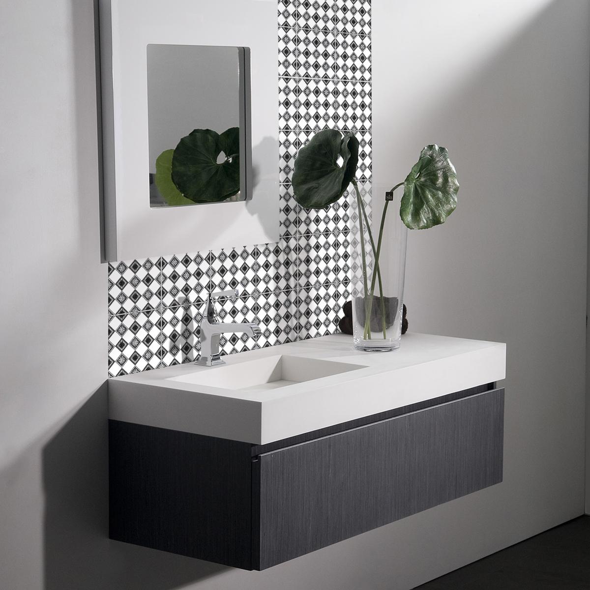 24 stickers carreaux de ciment boh me kisha cuisine. Black Bedroom Furniture Sets. Home Design Ideas