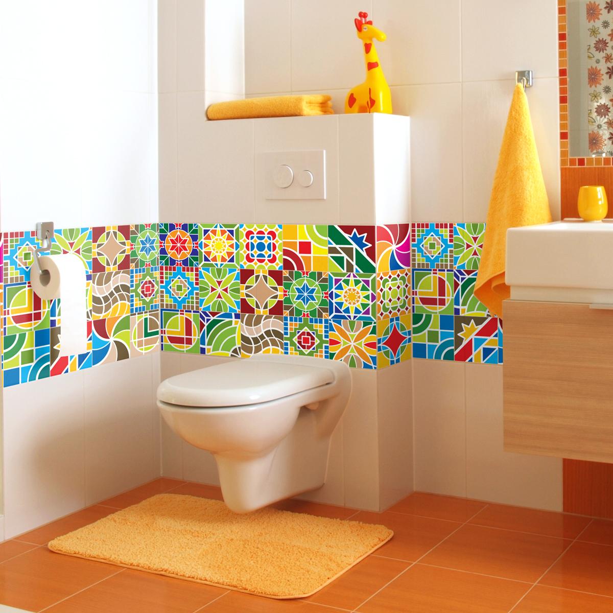 24 stickers carreaux de ciment canc n salle de bain et wc salle de bain ambiance sticker. Black Bedroom Furniture Sets. Home Design Ideas